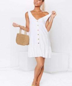 Weißes kurzes Kleid im Hippie Chic