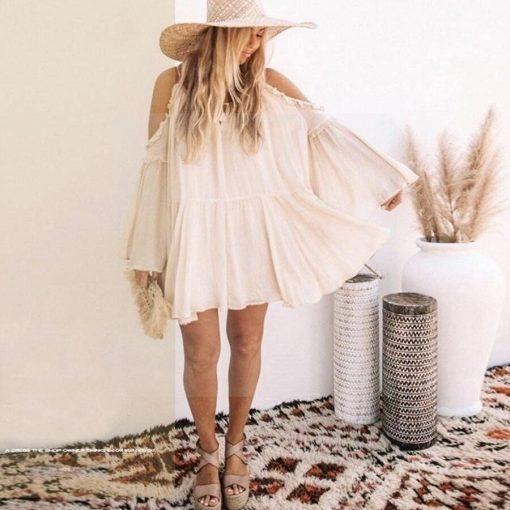 Weißes Hippie Strandkleid