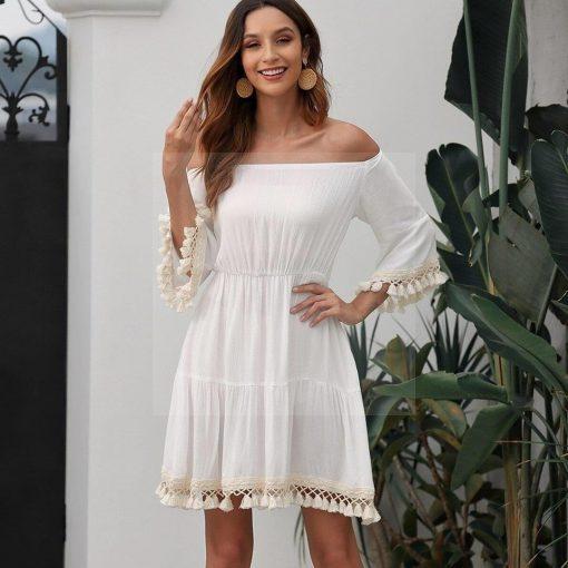 Weißes rückenfreies Hippie Kleid