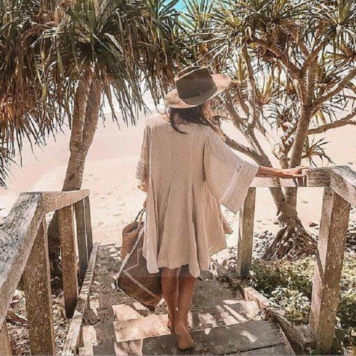 Beige Hippie Bohème Kleid